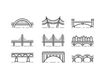 Bridge line icon set vector. Set of linear icons bridges of different typologies and designs. Vector logos bridges in flat outline style isolated on white Vector Illustration