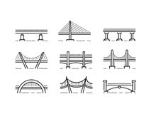 Bridge line icon set vector. Set of linear icons bridges of different typologies and designs. Vector logos bridges in flat outline style isolated on white Royalty Free Illustration