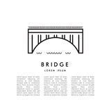 Bridge line icon vector. Vector poster with linear minimalistic image of the arch bridge and place for text stock illustration