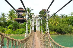 Bridge linking Palawan Beach to the Southernmost Point of Continental Asia Stock Images
