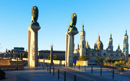 Bridge of Lions over Ebro river in morning. Zaragoza Stock Images