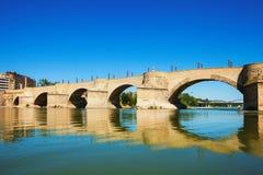 Bridge of Lions over Ebro river in Zaragoza Stock Photo