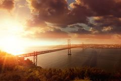 Bridge in Lisbon Portugal Royalty Free Stock Images