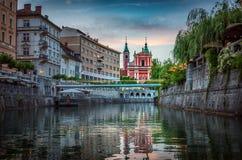 Bridge and Ljubljanica river in the city center. Ljubljana, capi stock photo