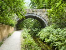 Bridge in Llangollen. Bridge over Llangollen canal with towpath Wales UK Royalty Free Stock Image