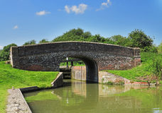 Bridge and Lock on an English Canal Stock Photo