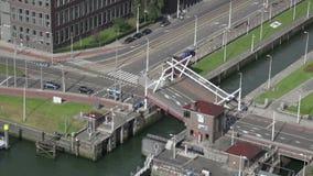 Bridge through a lock falls for journey of motor transpor stock footage