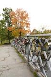Bridge with locks. Petrozavodsk, Russia 23.09.2015. royalty free stock photo