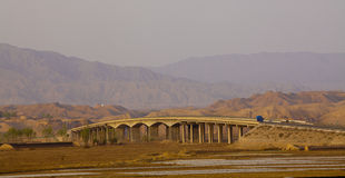 Bridge of loess plateau in sunset Stock Image