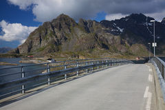 Bridge on Lofoten in Norway Royalty Free Stock Photo