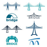 Bridge logos collection of illustrations isolated on white. Bridge logos collection of isolated vector illustrations with inscriptions depicting structures of Royalty Free Stock Images