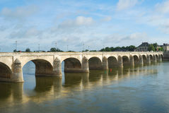 Bridge on Loire river at saumur Stock Photos
