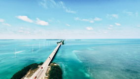 Bridge. Long bridge across the ocean in key West Florida Royalty Free Stock Photo