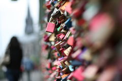 Bridge of Love. The Hohenzollern bridge in Cologne, Germany with thousands of padlocks Royalty Free Stock Photos