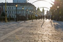 Bridge of Love in Kosice old town, Slovakia. Royalty Free Stock Images
