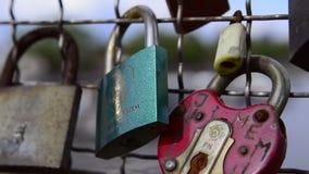 """Bridge of love"" in Krakow, Poland stock video footage"
