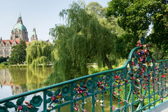 Bridge with love locks, Hannover, Germany Royalty Free Stock Images