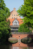 Bridge of Love and Miller House in Gdansk Stock Images