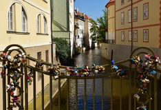 Bridge with love padlocks in Prague. Bridge with love padlocks cover in Prague, Czech Republic, Europe Royalty Free Stock Photo