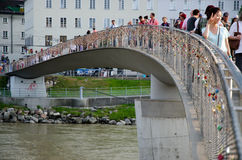 Bridge of love in Salzburg Royalty Free Stock Images
