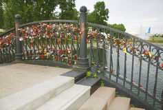 Bridge of lovers and honeymooners. In the park Stock Photography