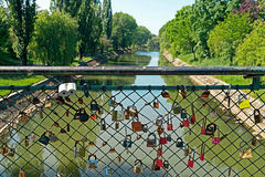 Bridge with lovers locks Royalty Free Stock Photos