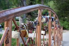 Bridge of lovers in the park. Royalty Free Stock Photography