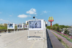 The bridge of the lovers with photographic exhibitions  in Sofia,Bulgaria Royalty Free Stock Photos