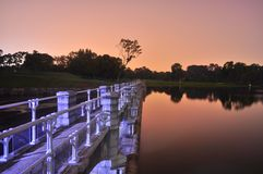 Bridge by Lower Peirce Reservoir by night Stock Images