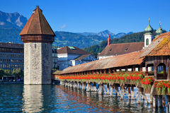 Bridge in Lucerne Stock Image