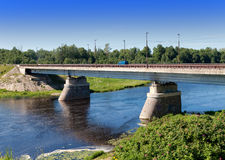 The bridge through the Luga River at Kingisepp, the Leningrad region, Royalty Free Stock Photo