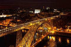 Bridge of Luis I at night Stock Photo