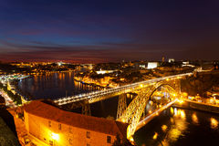 Bridge of Luis I at night over Douro river Royalty Free Stock Photo