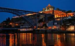Bridge Luis I at night in Porto Stock Image