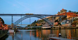 Bridge Luis I at night in Porto Royalty Free Stock Photo