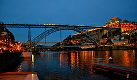 Bridge Luis I at night in Porto Stock Photo
