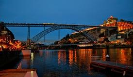 Bridge Luis I at night in Porto Stock Photo