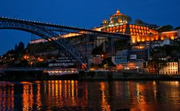 Bridge Luis I at night in Porto Stock Image