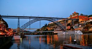 Bridge Luis I at night in Porto Royalty Free Stock Images