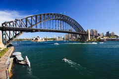 Bridge From Luna Day. View on Harbour Bridge arch over harbour Sydney Australia and opera house from Luna park attraction sunny summer day royalty free stock photos