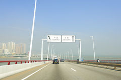 Bridge in Macao. Traffic on one of bridge in Macao, ex-colony of Portugal Stock Photos