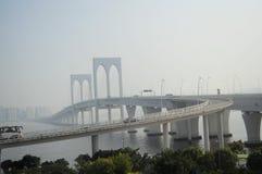 Bridge at Macau. Ponte de Sai Van (English: Sai Van Bridge; Chinese: 西灣大橋) is a cable-stayed bridge in Macau inaugurated on December 19, 2004. The Sai stock image