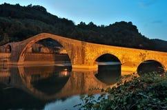 Bridge of  Maddalena. The bridge of Maddalena (also known as Devil's Bridge) located in Borgo a Mozzano (Lucca) in Tuscany Royalty Free Stock Photo