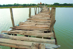 The bridge is made of wood. Underdeveloped country Southeast Asia The bridge was built of wood. To commute between communities Stock Photo