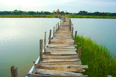 The bridge is made of wood. Underdeveloped country Southeast Asia The bridge was built of wood. To commute between communities Royalty Free Stock Images