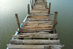 The bridge is made of wood. Underdeveloped country Southeast Asia The bridge was built of wood. To commute between communities Stock Image