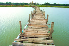 The bridge is made of wood. Underdeveloped country Southeast Asia The bridge was built of wood. To commute between communities Stock Photography