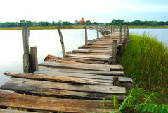 The bridge is made of wood. Underdeveloped country Southeast Asia The bridge was built of wood. To commute between communities Royalty Free Stock Photography