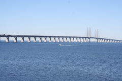 Bridge between Malmö and Copenhagen. View showing Öresund with the bridge between Sweden and Denmark Stock Photos