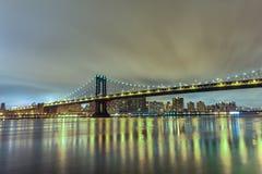 bridge manhattan night exposure long Νέα Υόρκη NYC Στοκ Φωτογραφία